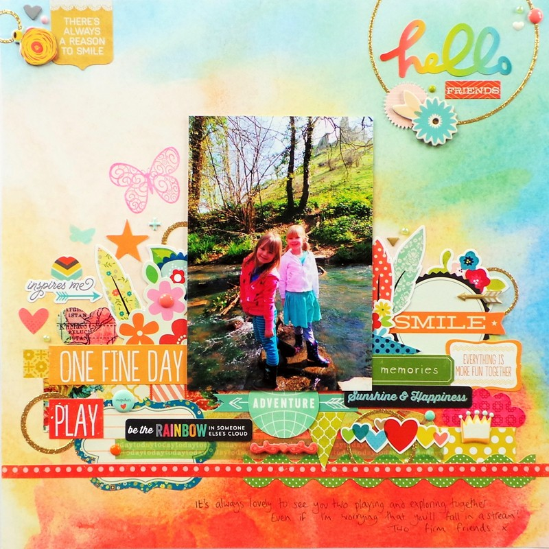 http://jennifergracecreates.com/hello-friends-layout-with-stacked-stickers/