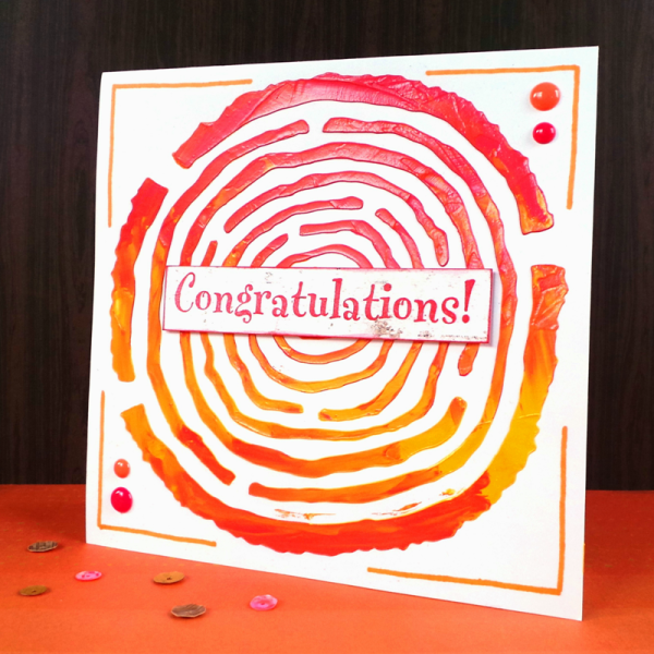Congratulations Card Using The Happy Scatter Wood Slice Stencil