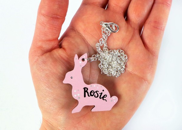 Custom Bunny Name Necklace at Jennifer Grace Creates