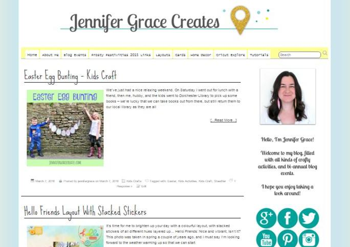 Jennifer Grace Creates - Screen Shot Of The Old Blog Look