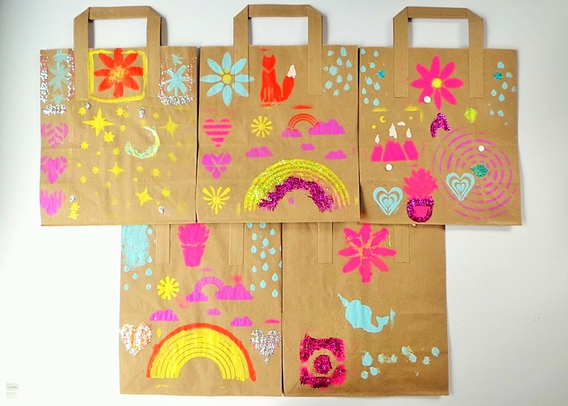 Stencilled Gift Bags Party Activity