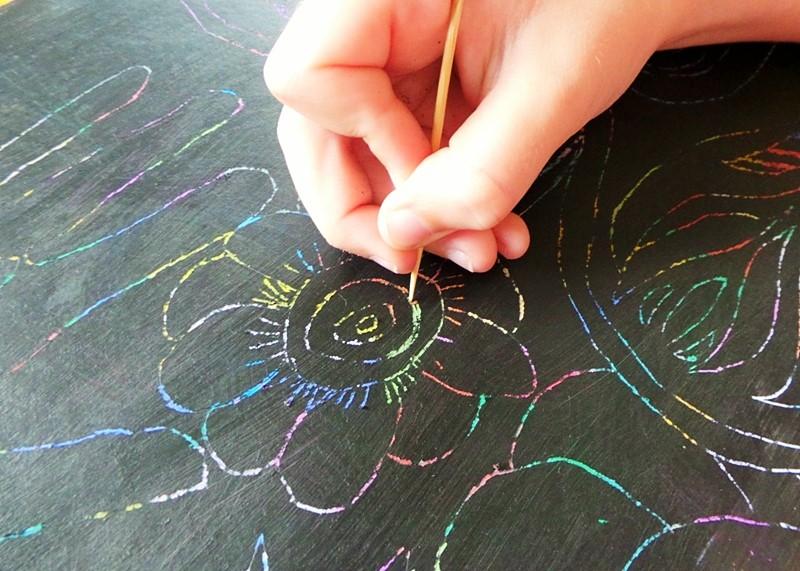 DIY Rainbow Scratch Art