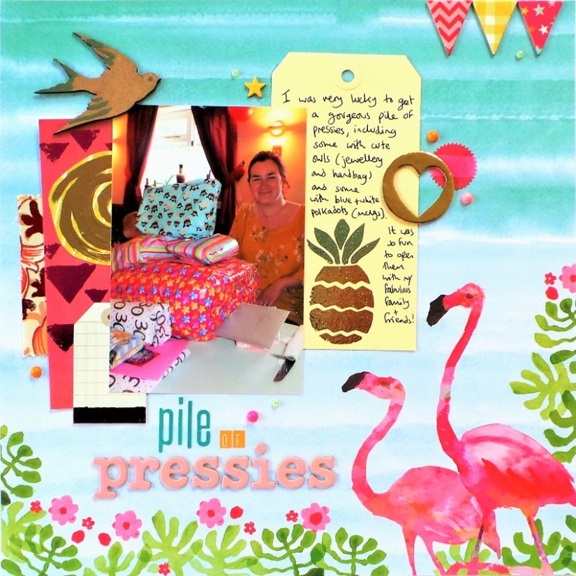 Pile Of Pressies Scrapbook Page Using Heidi Swapp Minc and Minc Reactive Paint